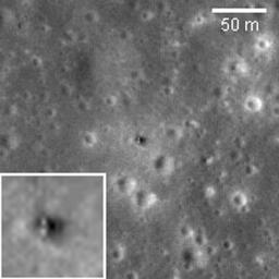Luna 16 was the first robotic mission to land on the Moon on basaltic plains of Mare Fecunditatis and return a sample to the Earth. It was launched by the Soviet Union on 12 September 1970. This image was taken by NASA's Lunar Reconnaissance Orbiter.