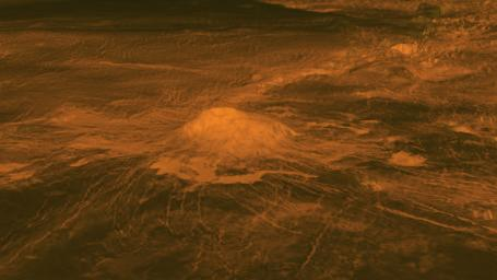 This figure shows the volcanic peak Idunn Mons in the Imdr Regio area of Venus. The topographic backbone (brown color) was derived from data obtained by NASA's Magellan spacecraft and the overlay was derived from data from ESA's Venus Express Spacecraft.