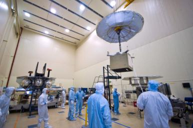 Assembly began April 1, 2010, for NASA's Juno spacecraft. Workers at Lockheed Martin Space Systems in Denver, Colorado are moving into place the vault that will protect the spacecraft's sensitive electronics from Jupiter's intense radiation belts.