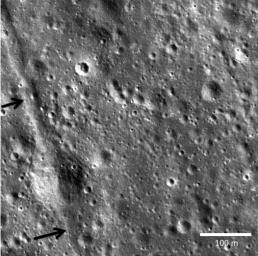Two small black arrows on today's image taken by NASA's Lunar Reconnaissance Orbiter show the location of a small graben (28 meters in width) in a pyroclastic mantling deposit in the SW portion of Mare Humorum.