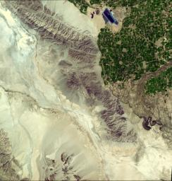 This image from NASA's Terra spacecraft shows where a magnitude 7.2 earthquake struck in Mexico's Baja, California at shallow depth along the principal plate boundary between the North American and Pacific plates on April 4, 2010.