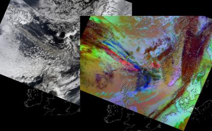 On April 15, 2010, NASA's Terra spacecraft captured these images of the ongoing eruption of Iceland's Eyjafjallaj�kull Volcano, which continues to spew ash into the atmosphere and impact air travel worldwide.