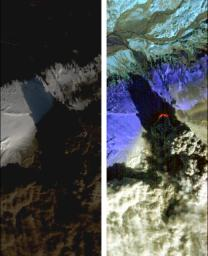On Saturday, April 17, 2010, NASA's Earth Observing-1 (EO-1) spacecraft obtained this pair of images of the continuing eruption of Iceland's Eyjafjallaj�kull volcano. On the left, new black ash deposits are visible on the ground.