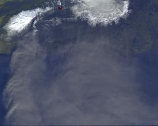 On Monday, April 19, 2010, the Advanced Spaceborne Thermal Emission and Reflection Radiometer (ASTER) instrument onboard NASA's Terra spacecraft obtained this image of the continuing eruption of Iceland's Eyjafjallaj�kull volcano.