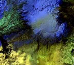 The Advanced Land Imager onboard NASA's Earth Observing-1 (EO-1) spacecraft obtained this false-color infrared image of Iceland's Eyjafjallaj�kull volcano on April 17, 2010. A strong thermal source is visible at the base of the Eyjafjallaj�kull plume.