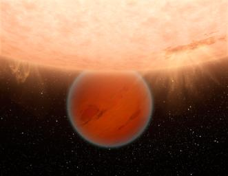 This artist's concept illustrates a hot, Neptune-sized planet called GJ 436b. NASA's Spitzer Space Telescope has found evidence that GJ 436b, orbiting a star beyond our sun lacks methane -- an ingredient common to many planets in our own solar system.