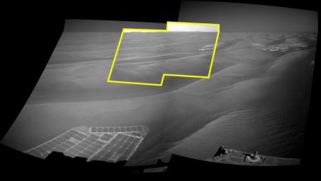 This image uses a view from the navigation camera on NASA's Mars Exploration Rover Opportunity to show context for a horizon shot by the rover's narrower-angle panoramic camera of the rim of Endeavour crater.