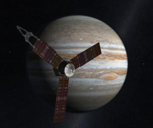 This artist's concept shows NASA's Juno spacecraft, which will launch from Earth in 2011 and arrive at Jupiter in 2016 to study the giant planet from an elliptical, polar orbit.