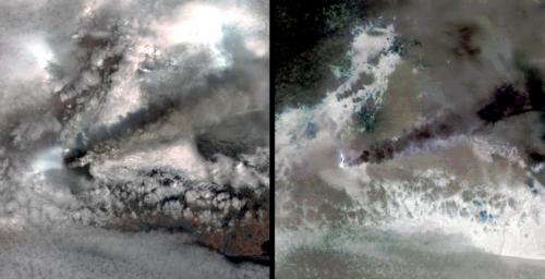 NASA's Terra spacecraft captured this pair of images of Iceland's Eyjafyallaj�kull volcano on May 3, 2010. On this day, Ireland closed its airspace for several hours due to presence of ash over the country.