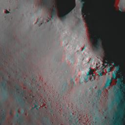 NASA's Lunar Reconnaissance Orbiter captured this anaglyph image is a close up view of Copernicus crater. 3D glasses are necessary to view this image.