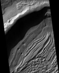 This image from NASA's Mars Reconnaissance Orbiter covers a small portion of the northwest quadrant of Hellas Basin, or Hellas Planitia, on southern Mars; Hellas is one of the largest impact craters in the solar system.