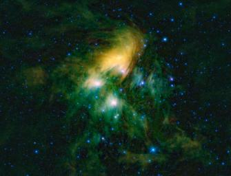 This image shows the famous Pleiades cluster of stars as seen through the eyes of NASA's Wide-field Infrared Survey Explorer; they are what astronomers call an open cluster of stars, loosely bound to each other to eventually go their separate ways.