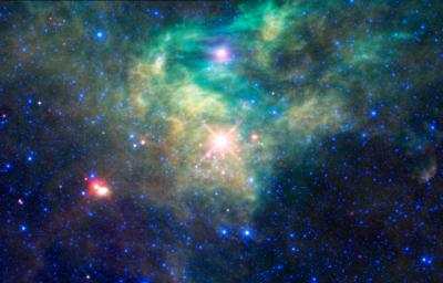 NASA's Wide-field Infrared Survey Explorer has seen a cluster of newborn stars enclosed in a cocoon of dust and gas in the constellation Camelopardalis.
