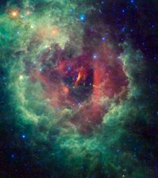 Unicorns and roses are usually the stuff of fairy tales, but a new cosmic image taken by NASA's WISE mission shows the Rosette nebula in the constellation Monoceros, or the Unicorn.