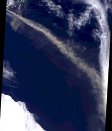 Iceland's Eyjafjallaj�kull volcano produced its second major ash plume beginning on May 7, 2010. NASA's Terra satellite passed just east of the volcano mid-morning and captured this image the same day.