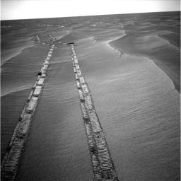 NASA's rover Opportunity captured this image of the tracks the rover left on a drive from one energy-favorable position on the northern end of a sand ripple to another. The rover team calls this hopping from lily pad to lily pad.