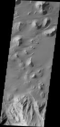 Sand is abundant of this portion of the floor of Ganges Chasma as captured by NASA's 2001 Mars Odyssey.
