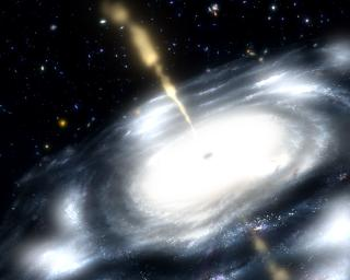 This artist's concept shows a galaxy with a supermassive black hole at its core. The black hole is shooting out jets of radio waves.