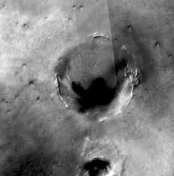 This mosaic of images of the region around NASA's Mars Exploration Rover Opportunity shows the relative locations of several craters, including Endeavour, in the Meridiani Planum region of Mars.