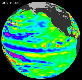 This image from NASA's European Ocean Surface Topography Mission/Jason-2 shows that the moderate El Niño of the past year has officially bowed out, leaving his cool sibling, La Niña, poised to potentially take the equatorial stage.