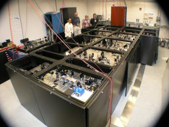 From left to right: JPLers Felipe Santos Fregoso, Piotr Szwaykowski, Kurt Liewer and Stefan Martin with the nulling interferometer testbed at JPL, where the device is built and refined.