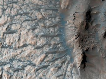 This observation from NASA's Mars Reconnaissance Orbiter shows part of the floor of a large impact crater in the southern highlands, north of the giant Hellas impact basin.