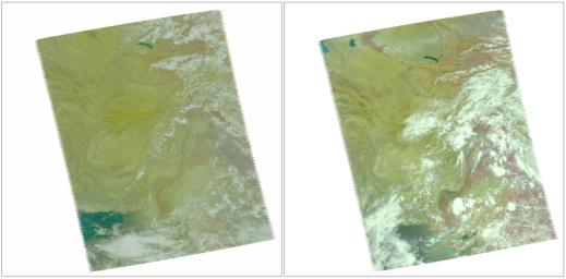 In late July 2010, flooding caused by heavy monsoon rains began in several regions of Pakistan. These images taken by NASA's Aqua spacecraft show were taken before and after the flooding.