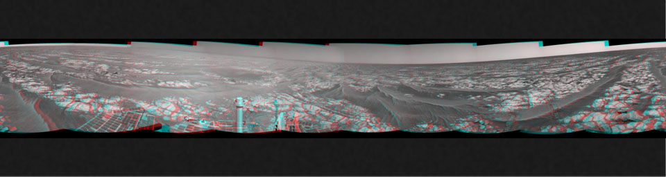This stereo mosaic of images from NASA's Mars Exploration Rover Opportunity shows surroundings of the rover's location following an 81-meter (266-foot) drive east-northeastward on Sept. 16, 2010. 3D glasses are necessary to view this image.