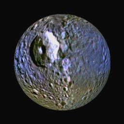 This enhanced-color view of Saturn's moon Mimas was made from images obtained by NASA's Cassini spacecraft. It highlights the bluish band around the icy moon's equator. The large round gouge on the surface is Herschel Crater.