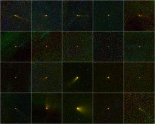During its one-year mission, NASA's Wide-field Infrared Survey Explorer, mapped the entire sky in infrared light. Among the multitudes of astronomical bodies that have been discovered by the NEOWISE portion of the WISE mission are 20 comets.
