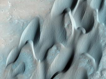 This image from NASA's Mars Reconnaissance Orbiter shows dunes on the floor of Herschel Crater. Steep faces ('slipfaces') are oriented downwind, in the direction of motion of the dunes. A dune-free area downwind of the crater is seen at the image center.