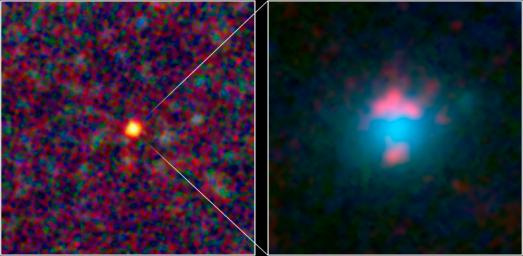 This image composite shows a warped and magnified view of a galaxy discovered by the Herschel Space Observatory, one of five such galaxies uncovered by the infrared telescope. The galaxy, referred to as 'SDP 81' is the yellow dot in the left image.