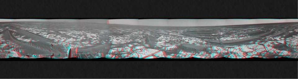 This mosaic of images from NASA's Mars Exploration Rover Opportunity shows surroundings of the rover's location following an 100.7-meter (330-foot) drive on Oct. 17, 2010. 3D glasses are necessary.