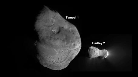 This image shows the nuclei of comets Tempel 1 and Hartley 2, as imaged by NASA's Deep Impact spacecraft, which continued as an extended mission known as EPOXI.