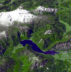 This perspective view from the Advanced Spaceborne Thermal Emission and Reflection Radiometer instrument aboard NASA's Terra spacecraft shows the magnificent natural landscape of Salzkammergut, Austria.