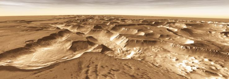 West of Valles Marineris lies a checkerboard named Noctis Labyrinthus, which formed when the Martian crust stretched and fractured. This image is from NASA's Mars Odyssey, one of an 'All Star' set.