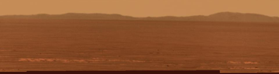 Rim of Endeavour on Opportunity's Horizon, Sol 2424