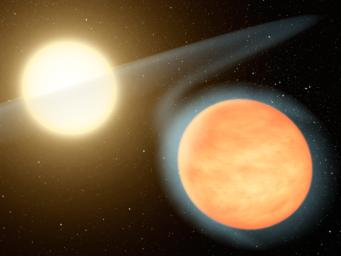This artist's concept shows the searing-hot gas planet WASP-12b (orange orb) and its star. NASA's Spitzer Space Telescope discovered that the planet has more carbon than oxygen, making it the first carbon-rich planet ever observed.
