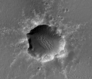 This image of Santa Maria Crater was taken by HiRISE camera on NASA's Mars Reconnaissance Orbiter where NASA's rover Opportunity approached Santa Maria Crater in December 2010.