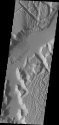 This image captured by NASA's Mars Odyssey shows the southwestern part of Kasei Valles.