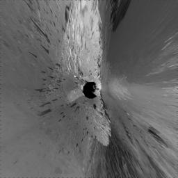 This 360-degree mosaic of images from the navigation camera on NASA's Mars Exploration Rover Opportunity shows the view from the western rim of 'Santa Maria' crater is presented as a vertical projection, with north at the top.
