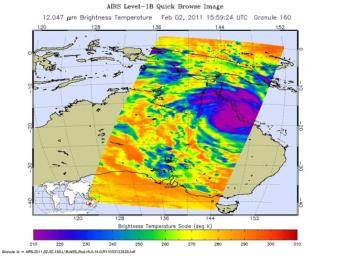 Powerful Tropical Cyclone Yasi's fury rakes Northeastern Australia in February, 2011, as seen by the Atmospheric Infrared Sounder (AIRS) instrument onboard NASA's Aqua satellite.