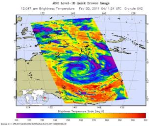 The Atmospheric Infrared Sounder (AIRS) instrument onboard NASA's Aqua spacecraft captured this infrared image of Tropical Cyclone Yasi on Feb. 2, 2011 as the storm passed over Australia's Great Dividing Range.