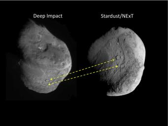 These two images show the different views of comet Tempel 1 seen by NASA's Deep Impact spacecraft (left) and NASA's Stardust spacecraft (right).