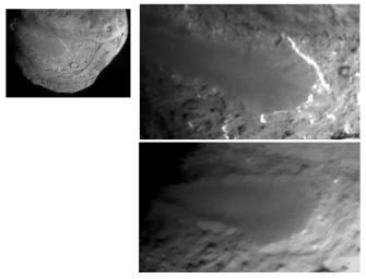 This image layout depicts changes in the surface of comet Tempel 1, observed first by NASA's Deep Impact Mission in 2005 (top right) and again by NASA's Stardust-NExT mission on Feb. 14, 2011 (bottom right).