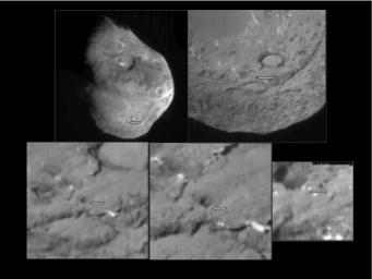 This series of images shows the area where NASA's Deep Impact probe collided with the surface of comet Tempel 1 in 2005. The view zooms in as the images progress from top left to right, and then bottom left to right.