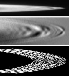 These images, derived from data obtained by NASA's Galileo spacecraft, show the subtle ripples in the ring of Jupiter that scientists have been able to trace back to the impact of comet Shoemaker-Levy 9 in July 1994.