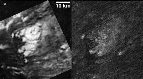 These side-by-side images obtained by NASA's Cassini spacecraft show the feature named Tortola Facula on Saturn's moon Titan.