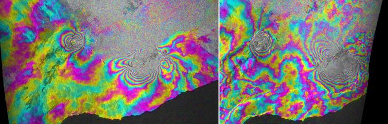 This satellite interferometric synthetic aperture radar image using COSMO-SkyMed radar data, depicts the relative deformation of Earth's surface at Kilauea between Feb. 11, 2011 and March 7, 2011 (two days following the start of the current eruption).
