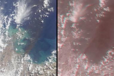 This images, acquired on March 12, 2011 by NASA's Terra spacecraft, shows a large smoke plume that appears to be associated either with the Shiogama incident or Sendai port fires. 3D glasses are necessary to view this image.